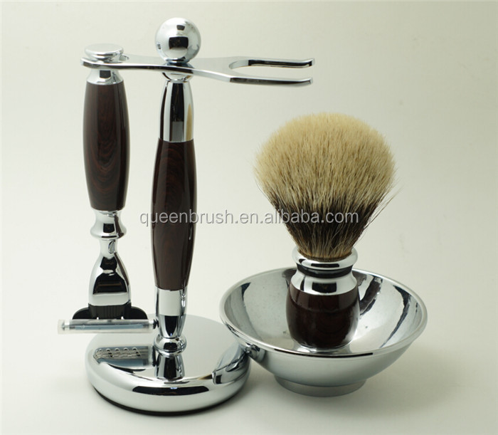 Wholesale Shave Bowl and Razors Metal Stand Badger Shaving Brush Sets