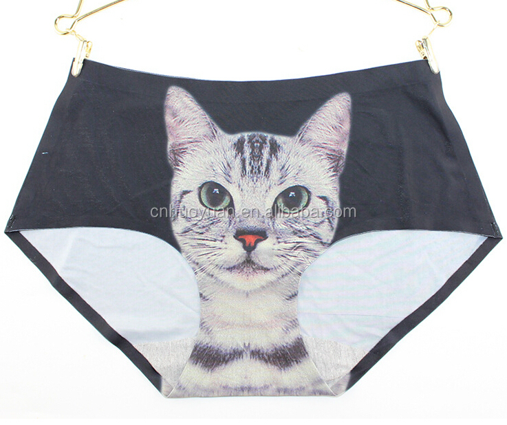 huoyuan sexy women underwear panty with lovely cat 3D Print