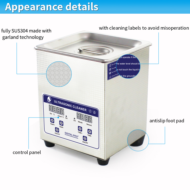 100W 2L Liter Small Heated Professional Ultrasonic Denture Cleaner JP-010S