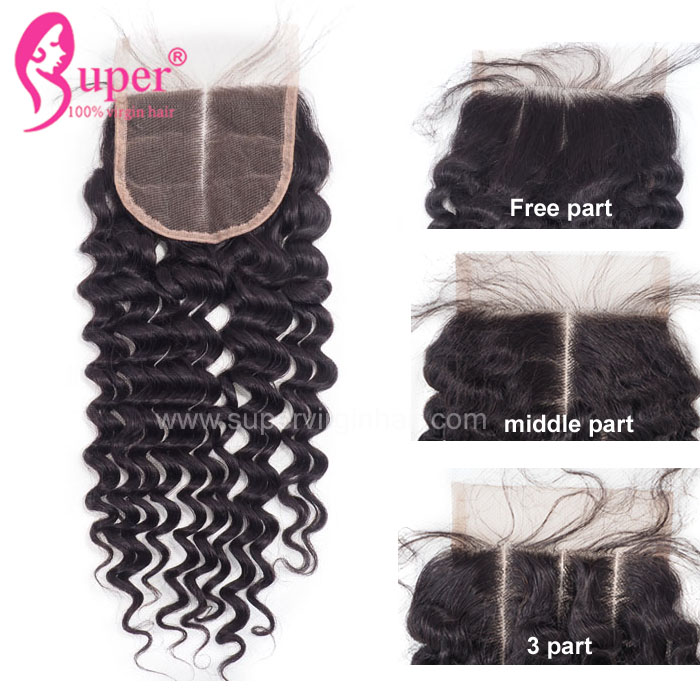 3 Ways Parting Curly Closure,  Three Way Part Machine Made Sew In Install Swiss Invisible Lace Closure Cuticles Aligned Hair