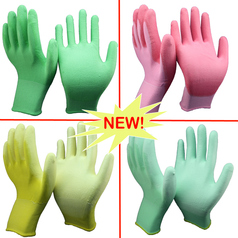 NMSAFETY different color pu dipping working gloves for sensitive skin