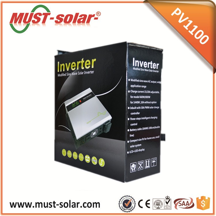 High efficiency modified sine wave hybrid solar inverter with 30A PWM controller 660w 800w 1440w