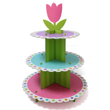 Wholesale Hot 3 Tier Layer Paper Cardboard Cupcake Cake Stand For Kids Party