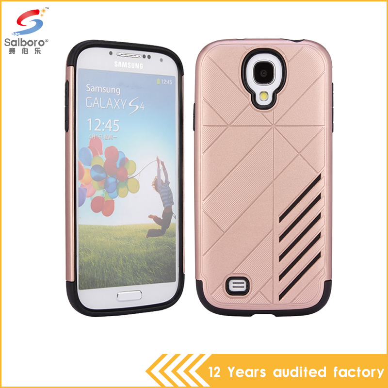 China Factory price gold color hybrid armor shockproof back case cover for samsung galaxy s4 cases