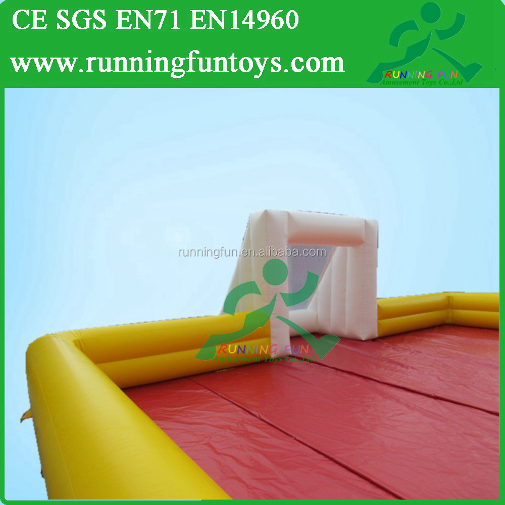 Popular sport game soccer play arena, kids inflatable football field for sale