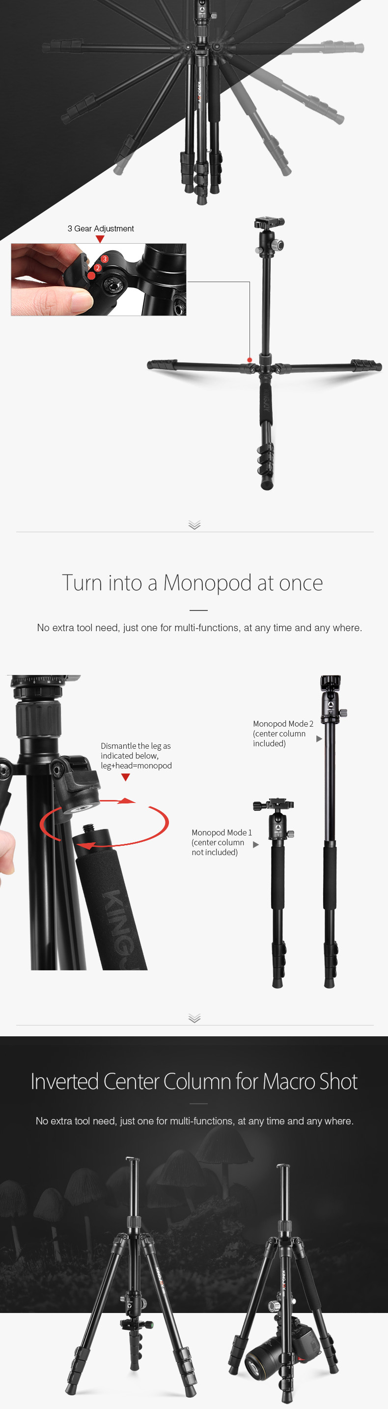KINGJOY Best Aluminum 4 Sections Professional Camera Tripod with Ball Head for DSLR cameras