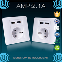 Guangzhou suppliers double usb electric ac 220v wall socket with certificates