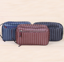 Striped Men Travel Cosmetic Bag Coffee Nylon Men Toiletry Organizer