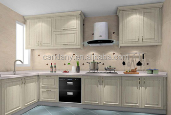 Modern elegant PVC modular kitchen cabinet with best price & best service in Foshan