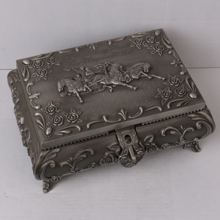 Home decoration tin color antique metal gift box for jewelry