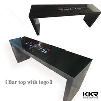 acrylic solid surface long narrow counter height bar table