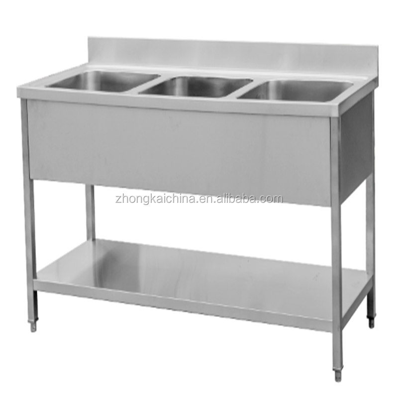 Used mercial Stainless Steel Triple Bowl Kitchen Sink