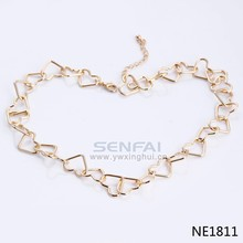 Best selling promotional simple heart design women gold chain choker necklace