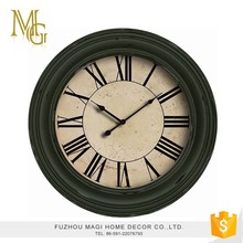 European shabby chic metal and wood round wall clocks for bedroom
