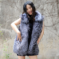 CX-G-B-61 Women Waistcoats Zipper Fur Vest Without Hood Real Fox Fur Vest