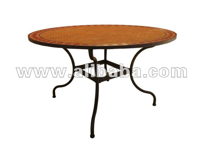 ferro battuto e mosaico di ceramica tondo tavolo da pranzo-Tavolo pieghevole-Id prodotto ...