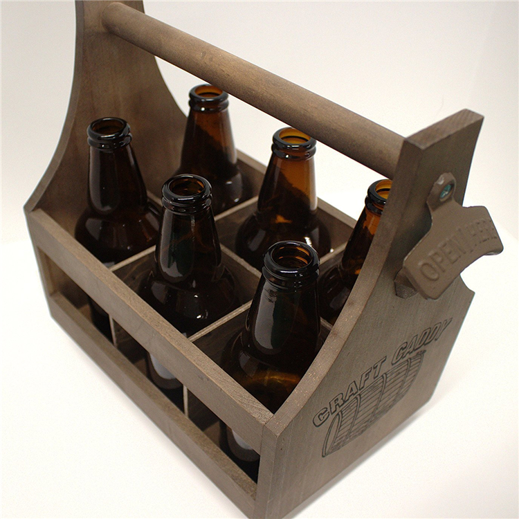 Customized logo wooden beer carrier with beer opener