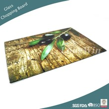 Unbreakable Glass Cutting Board with olive print