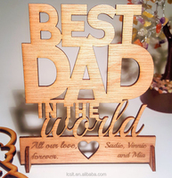 laser engraving wooden card fathers day gift from kids