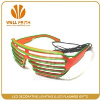 China factory price double EL wire shutter light up LED glasses
