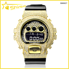 bling bling 18k gold micro pave hiphop G shock DW6900 iced out cz watch bezel