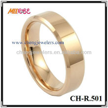 Flat surface beveled edge rose gold plated tungsten rings tunsten rosed gold ring