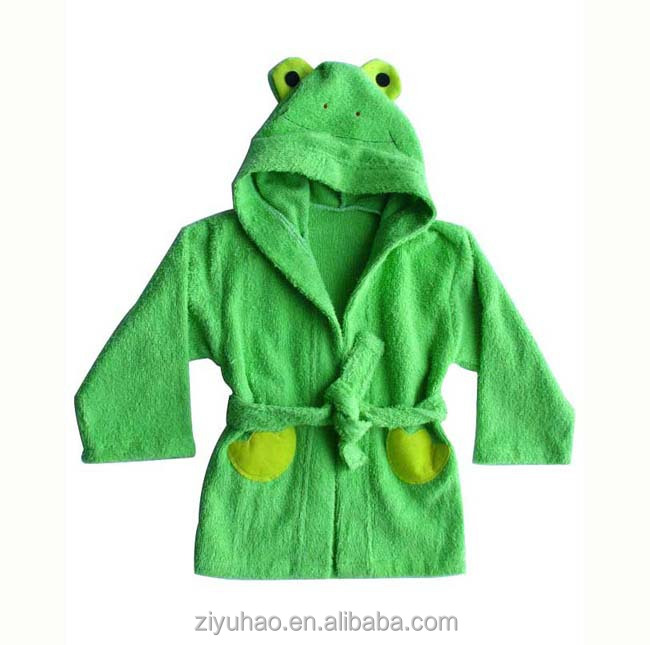 Hooded embroider children bath robe
