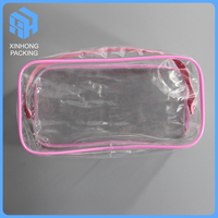 Customized clear plastic travel bags with zipper/pvc cosmetic pouch/heat seal plastic pvc toiletry bag