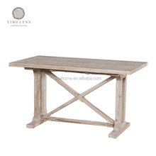 European style reclaimed fir wood dining table with cross bars