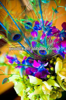 Party decoration peacock feather centerpiece