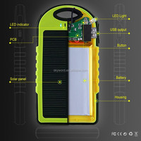Mini handy shape solar battery charger 5000mah water resistance power bank led street light for iphone 6
