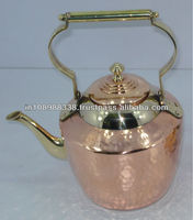 vintage copper kettle Copper tea kettle Teapot with brass spout and handles