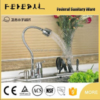 Functions Chrome Polished Kitchen Faucet 2 Sprayer Swivel Spout Single Handle Pull Down Spray Kitchen Mixer Tap