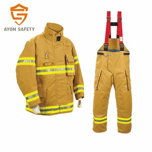 Orange Fire fighter clothing/suit/uniform with 4 layer structure Aramid ripstop material EN 469 standard-Ayonsafety