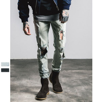ZH0096G New Design Wholesale Luxury Ripped Jeans Man Denim Jean