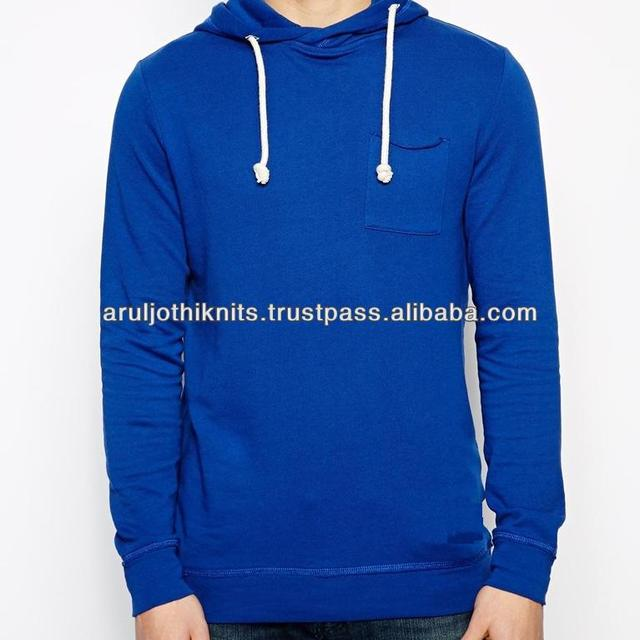 Mens royal blue pullover hoodies with chest pocket