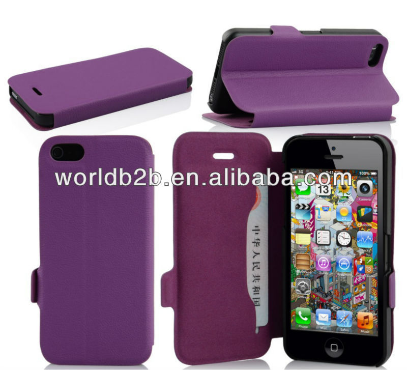 Hot Press Untra Slim PU Leather Case for iPhone 5c mini Lite with Stand and Card Slot