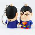 Custom made 5.5cm fashion light up led luminous superman keychain with recordable sound keyring for kids