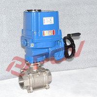 3 pc oil gas 2 way explosion-proof thread electric actuated ball valve