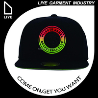 OEM wholesale flat brim custom black 3D embroidered snapback rope cap