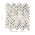 Beige Color Natural Marble Herringbone Pattern Mosaic Tile Flooring