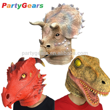Halloween Adult Realistic Rubber Tyrannosaurus/Triceratops Mask Latex Fire Dragon /Dinosaur Head Mask For Dress Costume Show