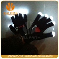 Fancy Flashing gloves supplier with Red/Blue/Green light led gloves