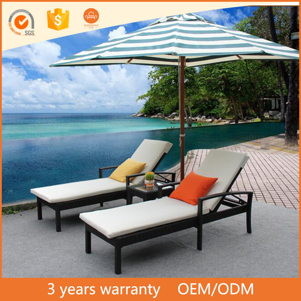 factory direct selling outdoor PE rattan weaving lounge chair hotel swimming pool lying chair used hotel furniture for sale