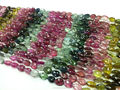 #50CHZ Natural Semi-Precious Multi-Color Pear Faceted Loose Gemstone Tourmaline Beads