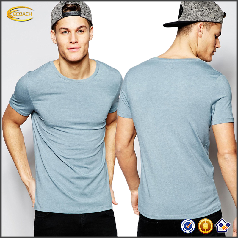 Ecoach Wholesale OEM Top quality best fabric jersey mens short sleeves shirts Muscle fit T-Shirt With Crew Neck In Light Blue