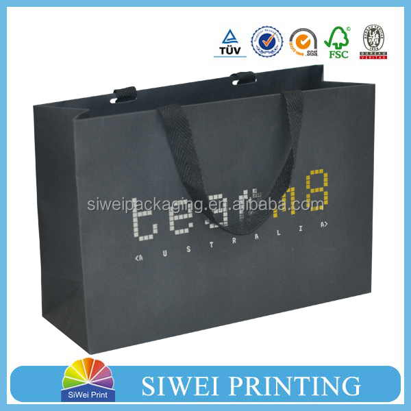 custom black gift paper bag with logo silk -screen or silver,gold foil stamp