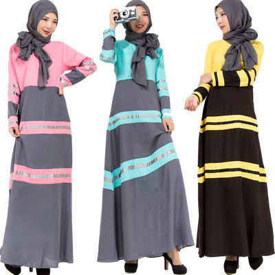 New striped spell color muslim dress turkish women clothing fashion islamic design