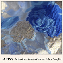 PARISS light weight polyester jacquard floral organza transparent fabric