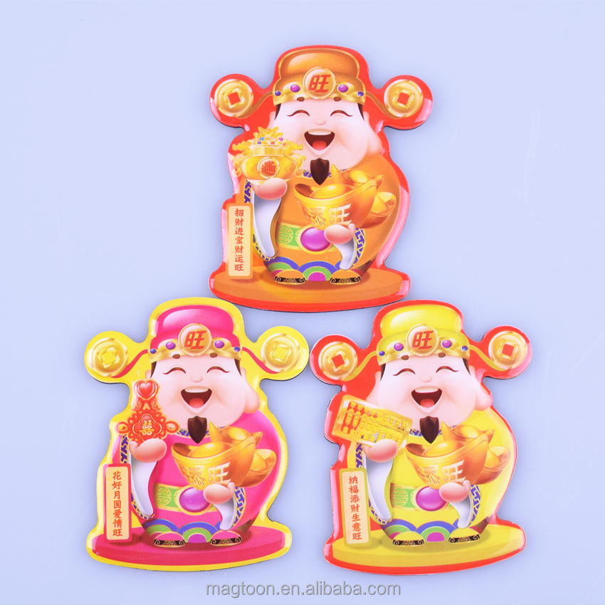 2015 Chinese good luck god design poly resing &epoxy fridge magnets for gifts